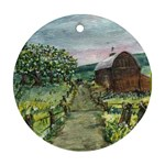 Amish Apple Blossoms - Ave Hurley - Round Ornament (Two Sides)