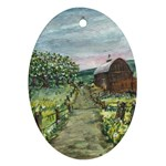 Amish Apple Blossoms -AveHurley ArtRevu.com- Oval Ornament (Two Sides)