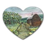 Amish Apple Blossoms -AveHurley ArtRevu.com- Heart Mousepad
