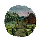 Amish Apple Blossoms -AveHurley ArtRevu.com- Standard 15  Premium Round Cushion