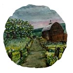 Amish Apple Blossoms -AveHurley ArtRevu.com- Large 18  Premium Round Cushion