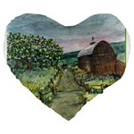 Amish Apple Blossoms -AveHurley ArtRevu.com- Large 19  Premium Heart Shape Cushion