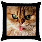 Cat Tongue Throw Pillow Case (Black)
