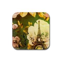 Floral Eiffel Tower Vintage French Paris Drink Coaster (square) by chicelegantboutique