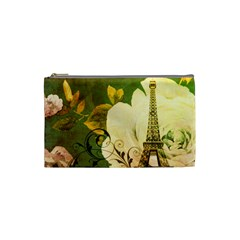 Floral Eiffel Tower Vintage French Paris Cosmetic Bag (small) by chicelegantboutique