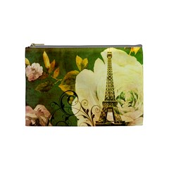 Floral Eiffel Tower Vintage French Paris Cosmetic Bag (medium) by chicelegantboutique