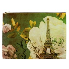 Floral Eiffel Tower Vintage French Paris Cosmetic Bag (xxl) by chicelegantboutique