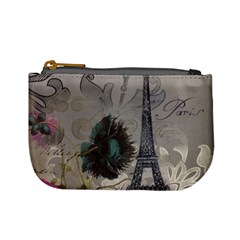 Floral Vintage Paris Eiffel Tower Art Coin Change Purse by chicelegantboutique