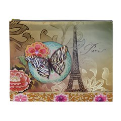 Fuschia Flowers Butterfly Eiffel Tower Vintage Paris Fashion Cosmetic Bag (xl) by chicelegantboutique