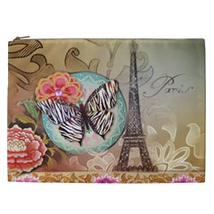 Fuschia Flowers Butterfly Eiffel Tower Vintage Paris Fashion Cosmetic Bag (xxl) by chicelegantboutique