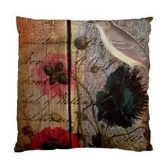 Vintage Bird Poppy Flower Botanical Art Cushion Case (two Sided)  by chicelegantboutique