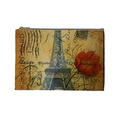 Vintage Stamps Postage Poppy Flower Floral Eiffel Tower Vintage Paris Cosmetic Bag (large) by chicelegantboutique