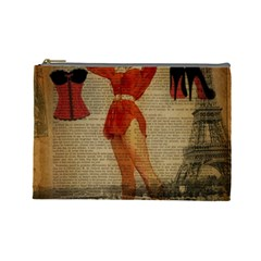 Vintage Newspaper Print Sexy Hot Gil Elvgren Pin Up Girl Paris Eiffel Tower Western Country Naughty  Cosmetic Bag (large) by chicelegantboutique