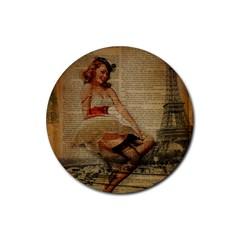 Cute Sweet Sailor Dress Vintage Newspaper Print Sexy Hot Gil Elvgren Pin Up Girl Paris Eiffel Tower Drink Coaster (round) by chicelegantboutique