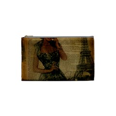 Retro Telephone Lady Vintage Newspaper Print Pin Up Girl Paris Eiffel Tower Cosmetic Bag (small) by chicelegantboutique