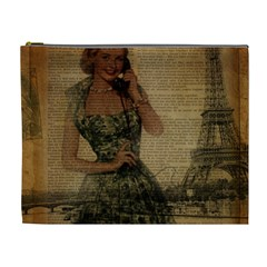 Retro Telephone Lady Vintage Newspaper Print Pin Up Girl Paris Eiffel Tower Cosmetic Bag (xl) by chicelegantboutique