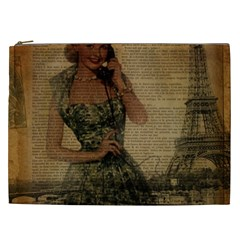 Retro Telephone Lady Vintage Newspaper Print Pin Up Girl Paris Eiffel Tower Cosmetic Bag (xxl) by chicelegantboutique
