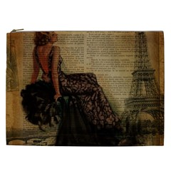 Elegant Evening Gown Lady Vintage Newspaper Print Pin Up Girl Paris Eiffel Tower Cosmetic Bag (xxl) by chicelegantboutique