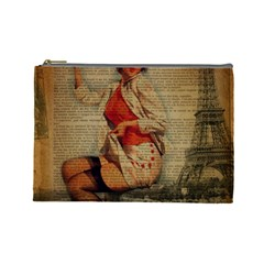 Vintage Newspaper Print Pin Up Girl Paris Eiffel Tower Funny Vintage Retro Nurse  Cosmetic Bag (large) by chicelegantboutique