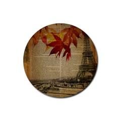 Elegant Fall Autumn Leaves Vintage Paris Eiffel Tower Landscape Drink Coaster (round) by chicelegantboutique