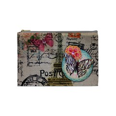 Floral Scripts Butterfly Eiffel Tower Vintage Paris Fashion Cosmetic Bag (medium) by chicelegantboutique