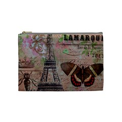 Girly Bee Crown  Butterfly Paris Eiffel Tower Fashion Cosmetic Bag (medium) by chicelegantboutique