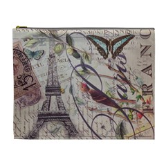 Paris Eiffel Tower Vintage Bird Butterfly French Botanical Art Cosmetic Bag (xl) by chicelegantboutique
