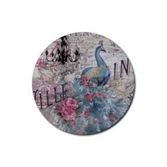 French Vintage Chandelier Blue Peacock Floral Paris Decor Drink Coaster (round) by chicelegantboutique