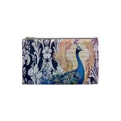 Damask French Scripts  Purple Peacock Floral Paris Decor Cosmetic Bag (small) by chicelegantboutique