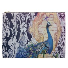 Damask French Scripts  Purple Peacock Floral Paris Decor Cosmetic Bag (xxl) by chicelegantboutique