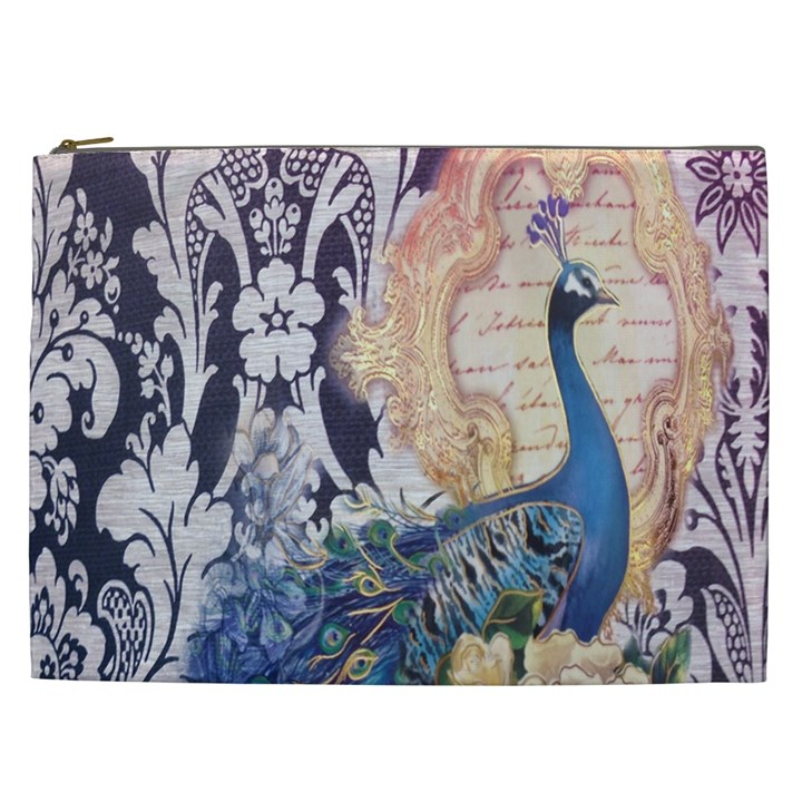 Damask French Scripts  Purple Peacock Floral Paris Decor Cosmetic Bag (XXL)