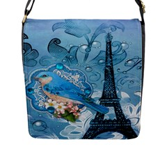 Girly Blue Bird Vintage Damask Floral Paris Eiffel Tower Flap Closure Messenger Bag (large) by chicelegantboutique