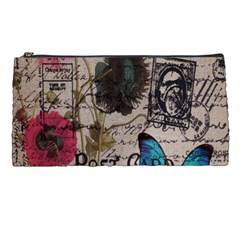 Floral Scripts Blue Butterfly Eiffel Tower Vintage Paris Fashion Pencil Case by chicelegantboutique