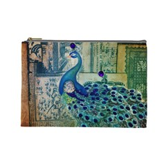 French Scripts Vintage Peacock Floral Paris Decor Cosmetic Bag (large) by chicelegantboutique