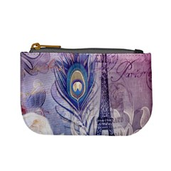 Peacock Feather White Rose Paris Eiffel Tower Coin Change Purse by chicelegantboutique