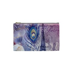 Peacock Feather White Rose Paris Eiffel Tower Cosmetic Bag (small) by chicelegantboutique