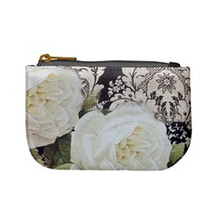Elegant White Rose Vintage Damask Coin Change Purse by chicelegantboutique