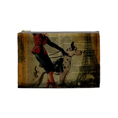 Paris Girl And Great Dane Vintage Newspaper Print Sexy Hot Gil Elvgren Pin Up Girl Paris Eiffel Towe Cosmetic Bag (medium) by chicelegantboutique