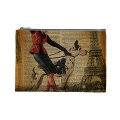 Paris Girl And Great Dane Vintage Newspaper Print Sexy Hot Gil Elvgren Pin Up Girl Paris Eiffel Towe Cosmetic Bag (large) by chicelegantboutique