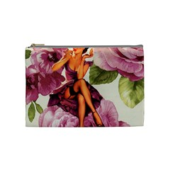 Cute Purple Dress Pin Up Girl Pink Rose Floral Art Cosmetic Bag (medium) by chicelegantboutique