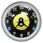 8 BALL Wall Clock (Silver)