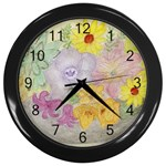 Flower Bowl  Wall Clock (Black)