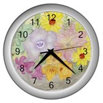 Flower Bowl  Wall Clock (Silver)