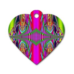 Modern Art Dog Tag Heart (one Sided)