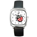 Lady Bug Square Metal Watch