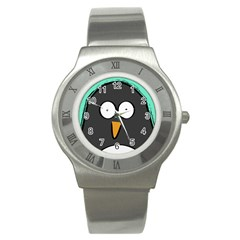 Penguin Close Up Stainless Steel Watch (unisex) by PaolAllen