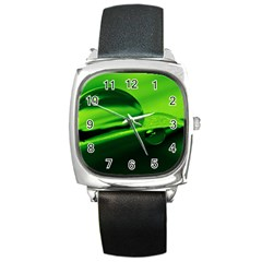Green Drop Square Leather Watch by Siebenhuehner
