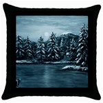 Winter Moon -  Ave Hurley   Throw Pillow Case (Black)