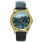 Winter Moon -  Ave Hurley   Round Gold Metal Watch