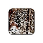 Castle Yard In Winter - Ave Hurley Rubber Square Coaster (4 pack)